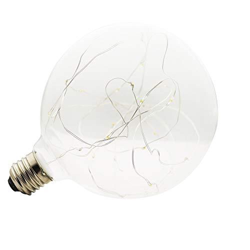 Dekolampe LED Edison Lampe 3W 1x G125 Globe Vintage Glühbirne Lichterkette Lampe (E27, 220V) Ideal für Nostalgie und Antik Beleuchtung Warmweiß