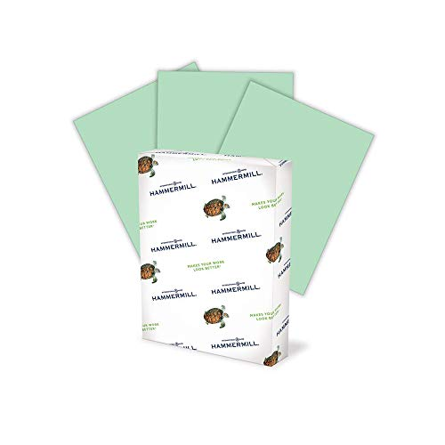 Hammermill Green Colored 20lb Copy Paper, 8.5x11, 1 Ream, 500 Total Sheets, Made in USA, Sustainably Sourced From American Family Tree Farms, Acid Free, Pastel Printer Paper, 103366R