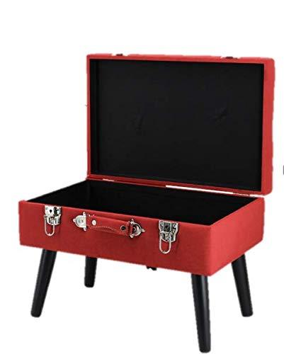Happy Home Company 12527 kruk kist stof beklede kruk kist met opbergvak ottoman in kofferdesign- rood