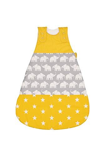ULLENBOOM Außenschlafsack für Babys l ÖkoTex-Stoffe l Baumwoll-Außensack l Baby-Schlafsack l 0-4 Monate/Größe 56-62 l Elefant Gelb