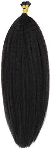 I Tip Human Hair Extensions Kinky Straight Mongolian Human Hair Mirco Links Coarse Yaki Keratin product image