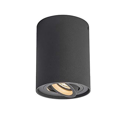QAZQA - Modern Spot | Spotlight | Deckenspot | Deckenstrahler | Strahler | Lampe | Leuchte anthrazit dreh- und neigbar - Rondoo 1 auf | Wohnzimmer | Schlafzimmer | Küche - Aluminium Zylinder - LED gee