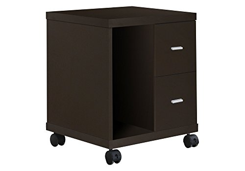 Monarch Specialties 2-Drawer Computer Stand on Castors, Cappuccino