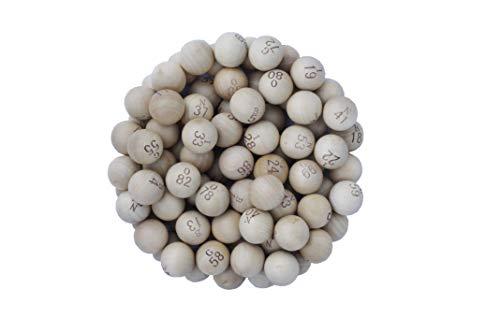 CARTALOTO- Juego de 90 Bolas de Loto de Madera, diámetro 22 mm, BTBPBB22, Multicolor