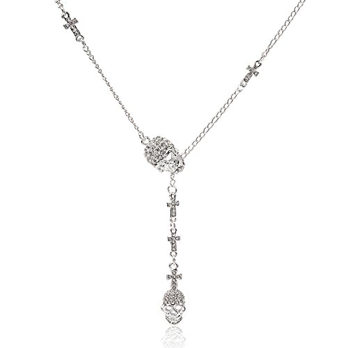 Lange Kreuz Kristall Anhänger Halskette Vintage Cool Skull Halskette für Frauen mit Kette von 35 cm und 50 cm