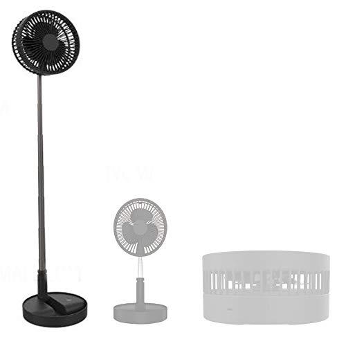 Soldela Ventilador inalámbrico telescópico Plegable 35 / 101cm - 6 Posiciones - USB Recargable - Silencioso - Negro
