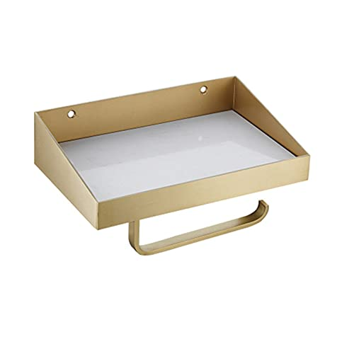 YTTS Porta Carta Igienica, Porta Carta Igienica in Ottone con Mensola in Marmo Supporto per Rotolo di Carta Igienica A Parete per Bagno