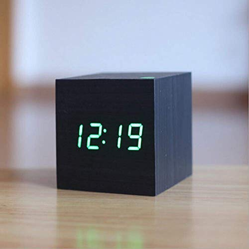 ZJZ Houten klok voor slaapkamer, LED Digitale wekker Moderne houten kubus klok 3 niveaus helderheidstemperatuurweergave met stembediening, zwart