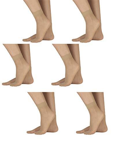 CALZITALY 6 Paar von Feinsocken aus Lycra   Damen Socken Alltag Komfort   Schwarz, Hautfarbe   18 DEN   Made in Italy (Einheitsgröße, Hautfarbe)