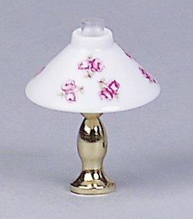 Kahlert Licht 0104405 Tischlampe mit Messingfuß, weiß, Rose