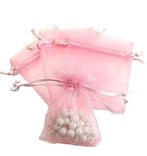 Ndeir 100 Piezas Bolsas de Organza Bolsitas de Tul para Regaños Joyas Bodas Tansparente Pastel Pink Hogar y Cocina
