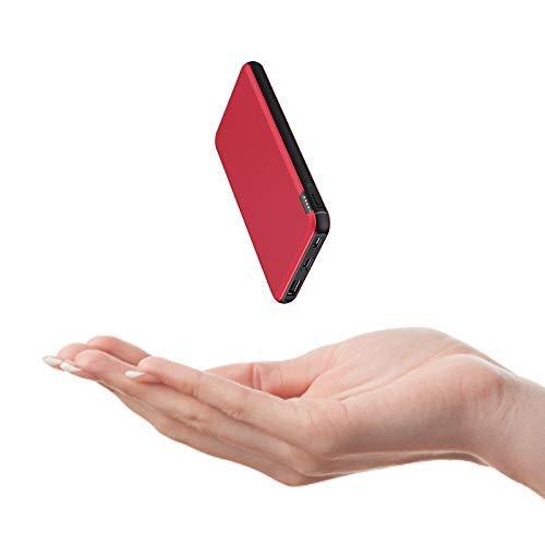 ButcHer Bateria Externa 10000mAh, Powerbank con 2 Entradas (USB-C+Micro) Compatibles con Todos Los Teléfonos y Tabletas(Rojo)