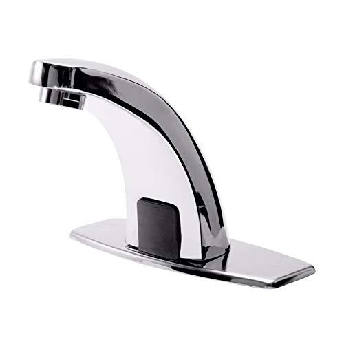 GCDN Grifo con sensor inteligente, manos libres, grifo automático con sensor de acero inoxidable con acabado de espejo de repuesto para lavabo de cocina de baño (plata)