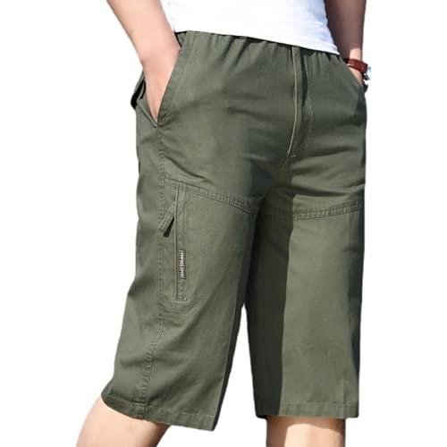 Pantalones Cortos de Talla Grande con Cintura elástica para Hombre Costura de Moda al Aire Libre Color sólido Ocio Camping Fitness Deportes Pantalones Cortos de Carga XL