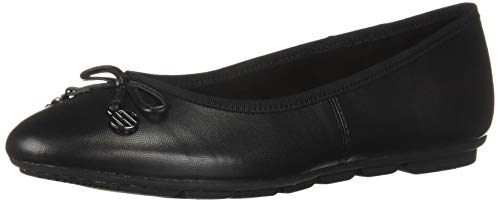Hush Puppies Women's Abby Bow Ballet Flat, Black Leather, 6 M US
