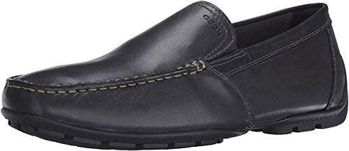 Geox Men's Monet Plain Vamp Slip-On Loafer,Black Leather,42 EU/9 M US