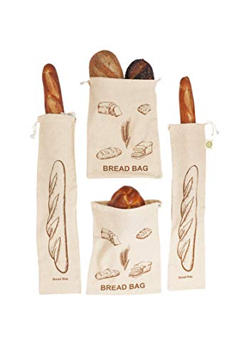 Reusable Homemade Bread Bags Storage - 100% Organic Linen Bread Bags - 2 Large and 2 Extra Large Reusable Bread Storage Bags - Drawstring Bag for Homemade Artisan Bread - Ideal Gift for Bakers