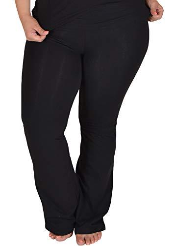Stretch is Comfort Women's Foldover Plus Size Color Yoga Pants Black XXX-Large