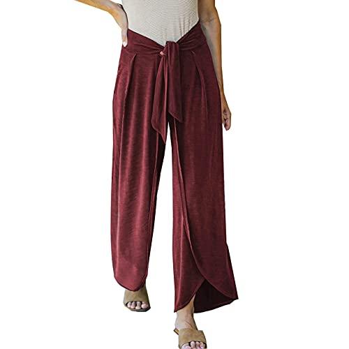 Pantalones Casuales para Mujer CinturóN Suelto con Cordones Pantalones De Color SóLido