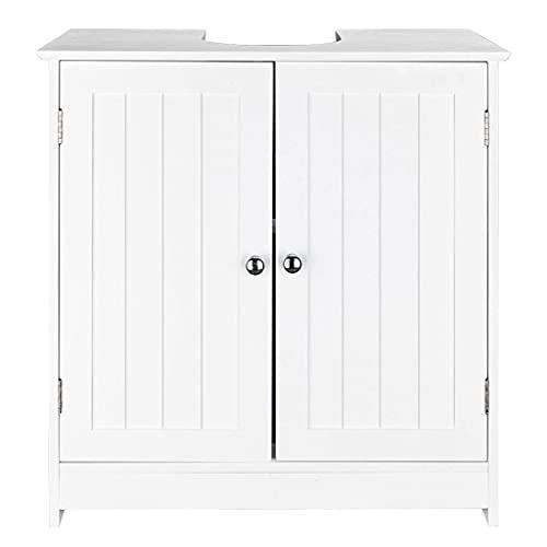 Bathroom Sink Vanity Cabinet, Free Standing Modern Under Sink Storage with 2 Doors, Free Standing Waterproof Wooden Side Storage Organizer Cupboard Furniture