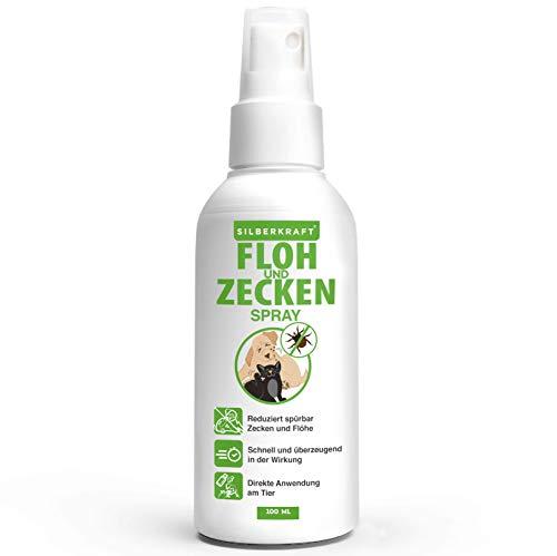 Silberkraft Floh & Zeckenspray, 100% biologisch abbaubares Zeckenspray für Hund, Katze und andere...