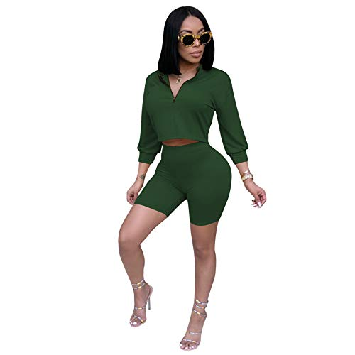 Women 2 Piece Short Set Sexy Outfits for Women Sweatsuits Matching Tracksuit Set Cute Loungewear Casual Clubwear Dark Green M