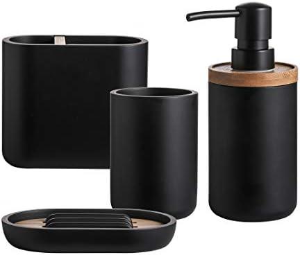QL DESIGN Bathroom Accessory Set 4 PCS Bath Ensemble Set Includes Soap Dispenser Dish Tumbler product image