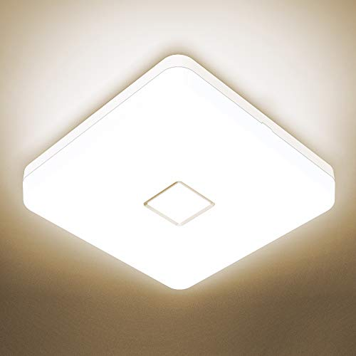 Onforu 24W LED Deckenleuchte Bad, IP54 Wasserdicht Deckenlampe Badlampe, 2100lm 4000K Neutralweiß Küchenlampe, Quadratisch Badezimmerlampe Decke Lampe für Küche, Badezimmer, Schlafzimmer, Wohnzimmer