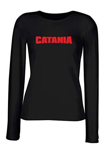 T-Shirt Manica Lunga Donna Nera T0082 Catania Calcio Ultras