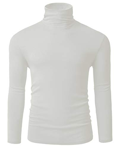 Fresca Men's White Long Sleeve Essential Turtleneck Wearable Sweater Pullover Basic Work Undershirt Supersoft Comfortable Thermal T-Shirts Ivory Large
