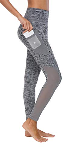 Flatik Damen Netzoberfläche Sport Gym Yoga Laufen Fitness Leggings Hose, Weiß/Grau, S