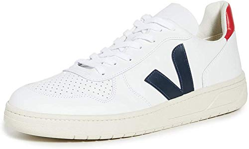 Sneakers V10 Cuir Blanc Contrase Bleu Marine pour homme -