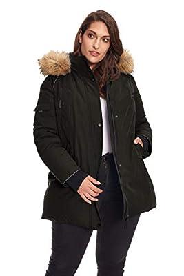 Alpine North Size Womens Vegan Down Parka Winter Jacket Plus, Black, 4X
