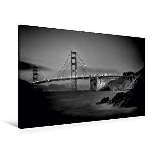 Premium - Lienzo de tela (90 cm x 60 cm, horizontal), diseño de San Francisco Baker Beach por la noche Monochromo