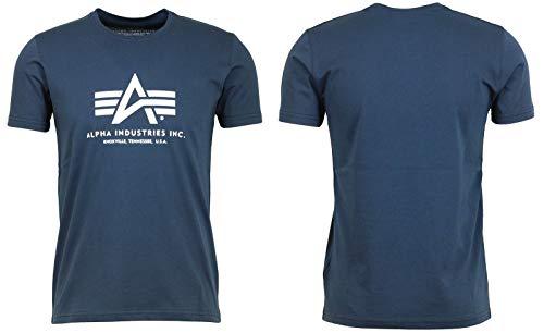 Alpha Industries Basic, T-Shirt Uomo, Rosso, XXX-Large, Blu (Marine), Medium