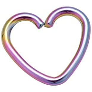 Surgical Steel Heart Ring Hoop Helix Cartilage Tragus Daith Earring Uk Seller 5+Colour & 4+Size (1.0mm*10mm, Rainbow)