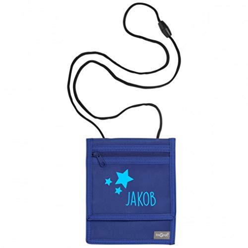 Brustbeutel mit Namen | Motiv Sterne inkl. Namensdruck personalisiert & Bedruckt | Geldbörse Kindergeldbeutel Münzfach für Kinder Jungen Mädchen mit Klettverschluss zum Umhängen (dunkelblau)