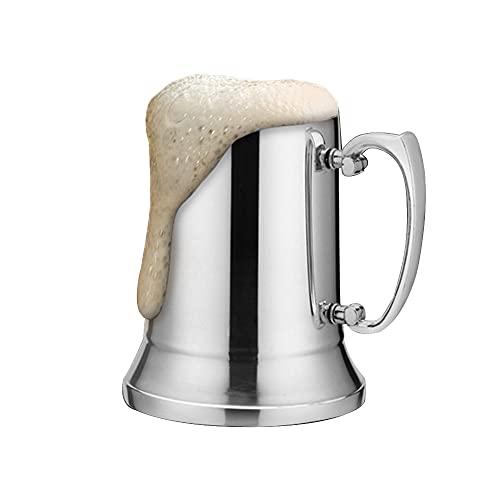 GJCrafts Jarra Cerveza Acero Inoxidable Tankard Stone, Taza Café Doble Pared 450ml con Mango Reforzado Antideslizante Resistente Calor, Taza Viaje Para Té Café Cerveza O CóCtel