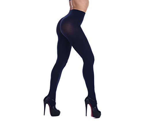 Women's 80 Denier Soft Semi Opaque Solid Color Footed Pantyhose Tights (L/XL, Navy Blue)