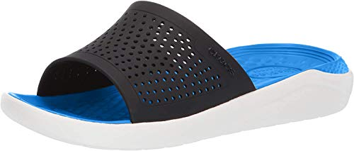 Crocs LiteRide Slide, Sandalias de Punta Descubierta Unisex Adulto, Azul (Navy/White 462), 36/37 EU