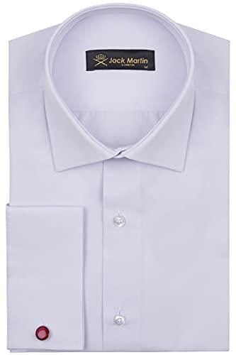 Jack Martin Herren Hemden mit Manschettenknöpfen, Slim Fit Hemden für Männer, Flieder, M
