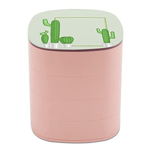 Rotate The Jewelry Box Print Suculent Large Cactus Plant Multi-Layer Design Joyero organizador con espejo para mujeres y niñas