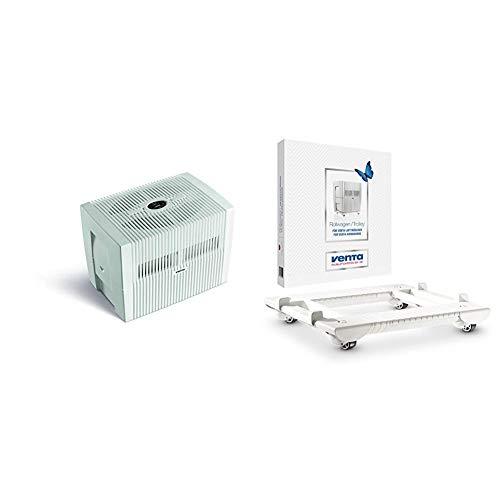 Venta Luftwäscher Comfort Plus LW45, Luftbefeuchtung und Luftreinigung (bis 10 µm Partikel) für Räume bis 60 qm, Brillantweiß, mit digitaler Steuerung & Rollwagen, weiß