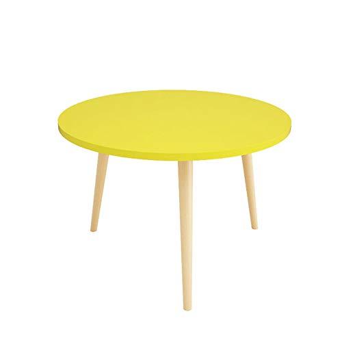 Mesa de Centro Redonda, Estilo nórdico hogar Ocio Mesa de Lectura Sala de Estar decoración sofá Mesa Lateral Mesa de Esquina Muebles diámetro 60CM,Yellow