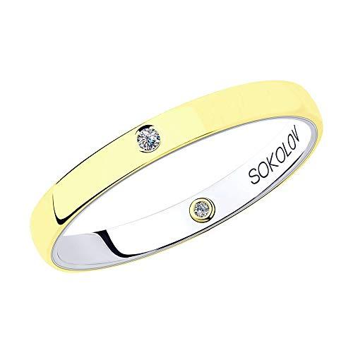 Anillo de boda para mujer de oro bicolor de 14 quilates (585) con diamantes de 0,017 ct y 0,004 ct, Oro 585 (14 K)., Diamond,