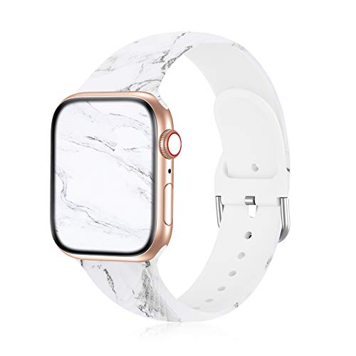 Seizehe Compatible with Apple Watch Band 38mm 40mm 42mm 44mm SE Series 6 Series 5, Silicone Floral Pattern iWatch Bands 38mm 40mm 42mm 44mm Womens Compatible for iWatch SE Series 6 5 4 3 2 1