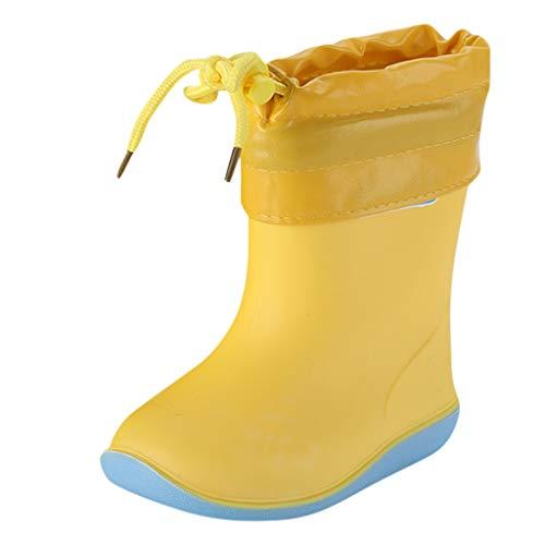 WEXCV Unisex Baby Jungen Mädchen Gummistiefel Kinder Einfarbig Cartoon Ente Verdicken Schnürsenkel Schuhe Kinderschuh rutschfest Wasserdicht Schuhe Regenstiefel (23 EU, H-Gelb)