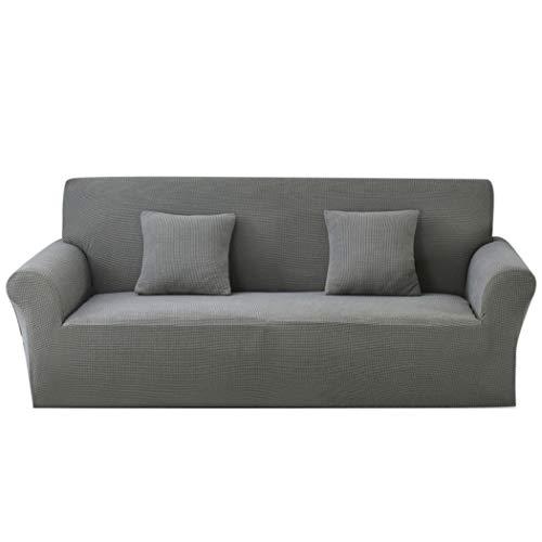 Carvapet Sofabezug 2 Sitzer Jacquard Sofahusse Elastische Stretch Sofa Überwürfe mit 2 Stücke Kissenbezug(Grau)