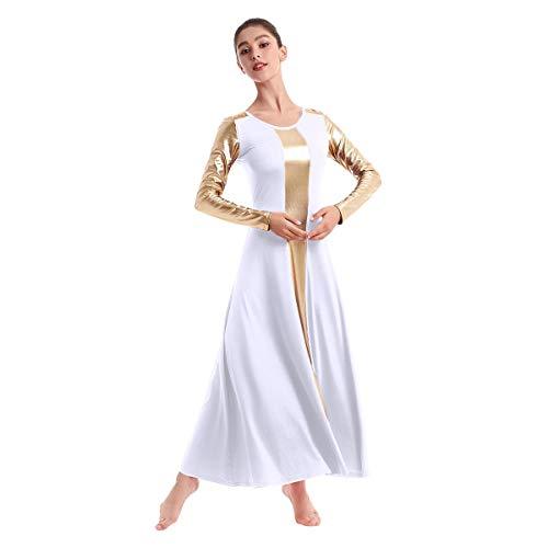 OBEEII Mujer Carnaval Vestido Litúrgico Ballet Leotardo Alabanza Adoración Danza Adulto Elegante Disfraz Metálico Patchwork Manga Larga Bailarina Actuación Fiesta Gimnasia Traje Blanco L
