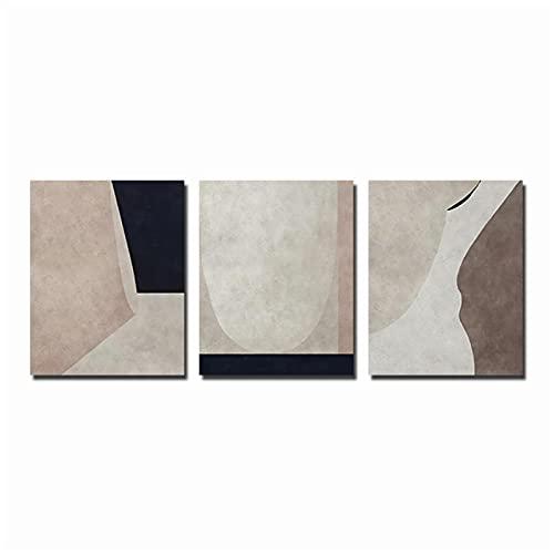 DJFBH-Cuadros decoracion salon modernos 3 piezas 70x90cm Sin marco Abstracto Acuarela Geométrica...